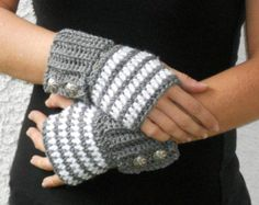 Grey and white stripe crochet button wrist by ValkinThreads,.