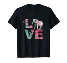 """Elephant Lover Artistic Design T-Shirt -This Love Elephant tshirt is original artwork with the coloful pastel letters """"LVE"""" and Elephant replacing the """"O"""". Perfect gift for elephant, animal, jungle wildlife, wild animals, and baby elephant lovers. It shows you support conservation. Enviromentalists will admire this t shirt to represent elephants in Asia, Africa and India. Also wonderful birthday or Christmas gift for mom, daughter, sister, aunt or pregnant mothers. Pregnant Mother, Christmas Gifts For Mom, Mom Daughter, Baby Elephant, Wild Animals, Elephants, Conservation, Aunt, Original Artwork"""