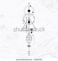 Vector geometric alchemy symbol with eye, moon, shapes Abstract occult and mystic signs Linear logo and spiritual design Concept of imagination, magic, creativity, religion, astrology
