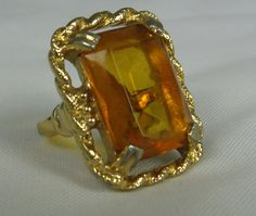 Vintage Sarah Coventry Emerald Cut Topaz Glass Mom had this ring...