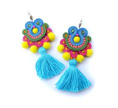 Tassel Earrings Dangle, Pom Pom Earrings, Long Earrings Colorful, Soutache Earrings, Summer Earrins, Boho Earrings, Soutache Jewelry    These soutache earrins are so colorful and eyecatching ! They matching great to any summer stylizations - beach,party etc. You can wear these with outfits in boho or oriental or mexican style and also to simple jeans and shirt - they will add extra splash of color ! Tassels and pom poms are so bold this summer !  Earrings are long - 9,2cm/3,6 inches and ...