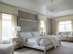 Eclectic Master Bedroom with Sunpan Patria Bed, Coastal Living Resort-Tranquility Isle Night Stand, Crown molding, Carpet