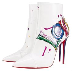 Get the must-have boots of this season! These Christian Louboutin White Graffiti In Love Patent Stiletto Boots/Booties Size EU (Approx. Save on yours before they're sold out! Bootie Boots, Shoe Boots, Ankle Boots, Stiletto Boots, Italian Shoes, Hot Shoes, Christian Louboutin Shoes, Designer Shoes, Me Too Shoes