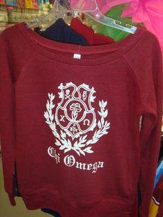 Chi Omega Crest on a Bella Wide-neck Sweater Custom Greek Apparel, Greek Clothing, Chi Omega, Sweatshirts, Sweaters, Fashion, Greek Outfits, Moda, Fashion Styles