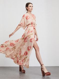 The Winslow Dress is what you would wear to a friend's wedding, but also what you would wear to look great at brunch. This is georgette maxi dress with a V neckline, kimono sleeves and wrap skirt that allows just enough leg room.   https://www.thereformation.com/products/winslow-dress-naples?utm_source=pinterest&utm_medium=organic&utm_campaign=PinterestOwnedPins