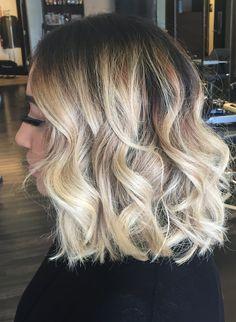Balayage Ombre Highlights on short hair. Long Bob. Lob. Blonde with dark root shadow. At  Dallas Roberts Salon, West Jordan, Utah. Hair Salon.
