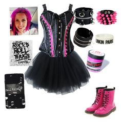 """""""Outfit 67 (Ariel Bloomer from Icon For Hire)"""" by creaturefeaturerules ❤ liked on Polyvore featuring Full Tilt, Boohoo, Manic Panic and Mia Bag"""
