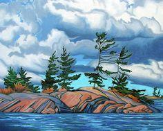 Landscape Painting - West Wind Georgian Bay by Paul Gauthier Watercolor Landscape, Abstract Landscape, Landscape Paintings, Fine Art Amerika, Polychromos, Landscape Pictures, Canadian Artists, Pictures To Paint, Tree Art