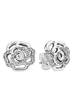 PANDORA 'Shimmering Rose' Stud Earrings available at #Nordstrom
