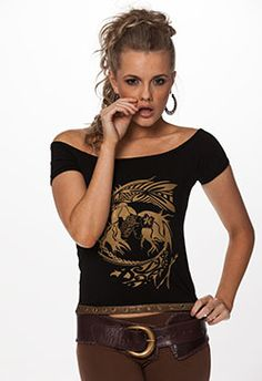This is a funky , stylish top indeed! Off the shoulders sexy top with a strip of leather and eyelets at the waist.  Maori inspired print representing unity between men and woman.