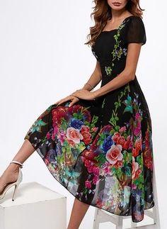 Floral Square Neckline Short Sleeve Midi A-line Dress  - Floryday @ floryday.com #casualdresses