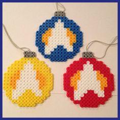 Star Trek Christmas Ball Ornaments perler beads by K8BitHero