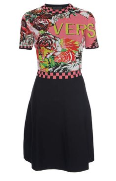 Shop Fit-And-Flare Crepe Dress. Versace's crepe dress has short sleeves, checkered trim detailing, and a fit-and-flare silhouette. Short Sleeves, Short Sleeve Dresses, Korean Fashion Casual, Complete Outfits, Crepe Dress, Piece Of Clothing, Fit And Flare, Versace, My Style