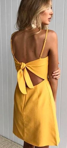 #spring #outfits Yellow Bow Back Dress