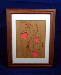 Hearts and Swirls Framed Wood Wall Art Handcrafted from Oak Plywood   KevsKrafts - Woodworking on ArtFire