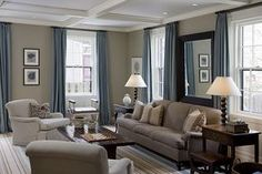 Beige & Blue-Beige walls in the kitchen and family room and the blue as an accent color in the morning room