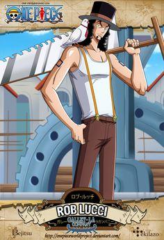 One Piece - Rob Lucci Fue visto por primera vez como uno de los cinco capataces de Galley-La Company en el muelle 1. Él era un aserrador y especialista del perno de la cabrilla. Se revela después que él es un agente del encubierto CP9 para obtener los modelos de Plutón de Iceburg. Ademas es uno de los principales antagonistas de la Saga de Water 7 y la Saga de Enies Lobby