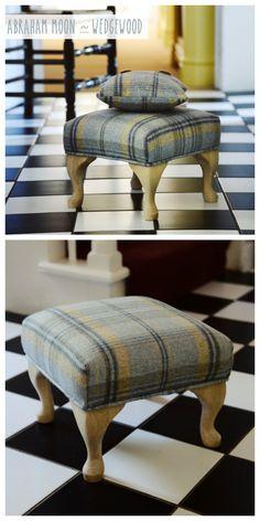 Small Blue & Yellow Plaid Cute Footstool - Abraham Moon Wedgewood Fabric ♡