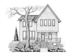 Fall Drawings, Sketchbook Drawings, Cool Art Drawings, Dream House Drawing, House Sketch, Building Drawing, Building Sketch, Pencil Sketches Landscape, Brick Detail
