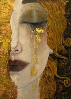For clarity, this painting is often attributed to Klimt, but was not painted by him. This painting, 'Freya's Tears' was painted by French artist Anne-Marie Zilberman in the style of Klimt. Gustav Klimt, Art Klimt, Art Amour, Art Plastique, Love Art, Oeuvre D'art, Art History, Amazing Art, Art Nouveau