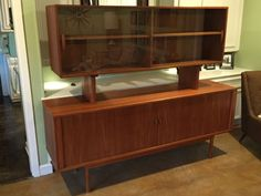 Teak Credenza Sideboard w/Removable Floating Glass Hutch-Quistgaard for Lovig in Antiques, Furniture, Sideboards & Buffets, Teak Sideboard, Credenza, Liquor Cabinet, How To Remove, Woodworking, Antiques, Storage, Glass, Buffets