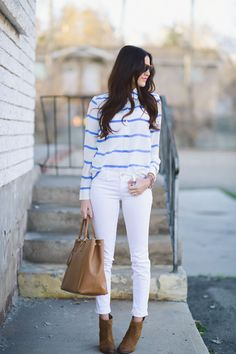 Striped top + white jeans.