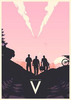 Minimalistic GTA V Poster - Mikael Westman Grand Theft Auto 5, Grand Theft Auto Series, Video Game Posters, Video Game Art, Video Games, San Andreas, Gta V Ps4, Gta 5 Online, Rockstar Games