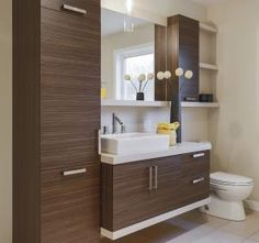 By installing a corner bathroom sink cabinet design, a stylish interior element appears. Bathroom Cabinets Over Toilet, White Bathroom Shelves, Bathroom Shelf Decor, Bathroom Toilets, Cabinet Decor, Cabinet Design, Bathroom Interior, Modern Bathroom, Small Bathroom