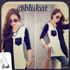 Black n White Long Sleeve T Black N White Long Sleeve T. Half black & half white, with pocket. Top comes right past hips. Cute! CB Tops
