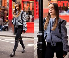 Get this look: http://lb.nu/look/8579789  More looks by Savina N.: http://lb.nu/savina  Items in this look:  Other Theory Jacket, French Connection Uk Jeans, Schuh Boots   #chic #classic #edgy