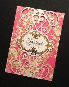 """Shabby-Sweet and Fancy """"Celebrate"""" Card with Elegant Floral Anna Griffin Papers"""