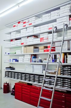 floor to ceiling organization.. with a sliding ladder. My OCD tendancies will forever be satisfied.