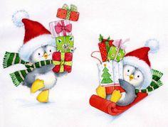quenalbertini: Marina Fedotova Art (Part Christmas Scenes, Christmas Animals, Christmas Pictures, Christmas Art, All Things Christmas, Decoupage, Christmas Drawing, Christmas Clipart, Christmas Illustration