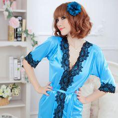 春セクシーな女性のシルクローブランジェリーgstringをネグリジェパジャマドレス浴衣RT5
