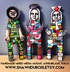 HANDMADE MIXED MEDIA MOSAICS DOLLS STAINED GLASS POLYMER CLAY ART ASSEMBLAGE FOUND OBJECT RECYCLED UPCYCLED