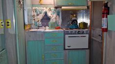 Our resent restore job 1967 Shasta! i did her in shabby chic mint green!