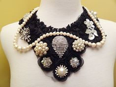 Vintage Necklace Runway Pearls Rhinestones Black Lace Rosettes One Of A Kind Design  By VintElegance.com