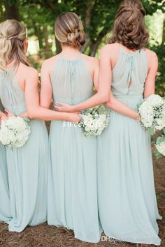 2016 Elegant Mint Green Chiffon Ruffles Long Bridesmaid Dresses Floor Length Open Back Boho Country Wedding Party Maid of Honor Gowns Formal