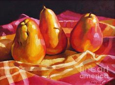 """'Three Pears' oil painting by Fiona Craig, 9"""" x 12"""". Available as an original and as prints in various sizes. See also www.fionacraig.com"""