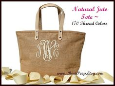 $21! Monogrammed Natural Color Jute Tote Bag - Personalized Natural Burlap totes - Beige, Sand, Beach, Tropical - jute classic summer purse