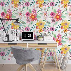 Bright painted floral removable wallpaper / cute self adhesive wallpaper / botanical temporary wallpaper B142-27