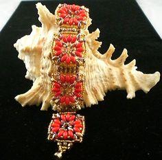 Aztec Mayan Hand Beaded Bracelet by JazzyDazzleJewelry on Etsy