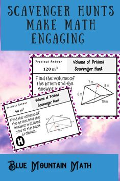 Looking for a fun, engaging activity that gets the kids moving and talking about math? In this resource, students practice finding the volume of prisms and you can choose between a printed activity or digital (self-grading) activity. The printed activity works great in the classroom while the digital activity can be used for distance learning or absent students.