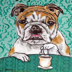 bulldog dog tea time tile coaster modern JSCHMETZ gift