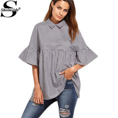 Women Striped Blouses Ruffle Sleeve Casual Tops Autumn Style New Arrival Ladies Shirt Babydoll Cute Blouse Who like it ? Get it here