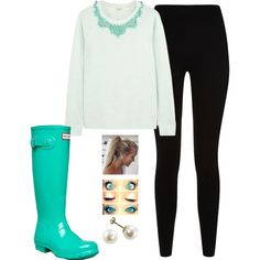 Leggings with a nice sweater, mint Hunter boots, a matching statement necklace, and pearl earrings.