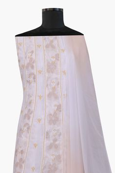 Ada #handembroidered  #fawn  Cotton #chikankari Suit Length A23220