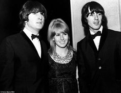 Cynthia with Lennon and fellow Beatle George Harrison at a film premiere in 1965. The couple's divorce was swift and acrimonious
