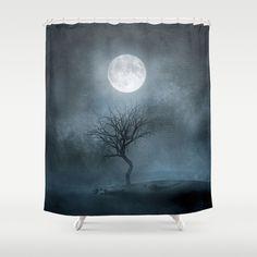 Black Tree Shower Curtain - Best Selection in Town! Tree Shower Curtains, Black Tree, Tapestry, Tree Illustration, Curtain Designs, Elegant, Bathroom, Artwork, Moon