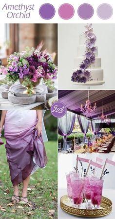 Purple Color Schemes, Purple Color Palettes, Wedding Color Schemes, Popular Wedding Colors, Fall Wedding Colors, Autumn Wedding, Purple Wedding Flowers, Wedding Themes, Wedding Ideas